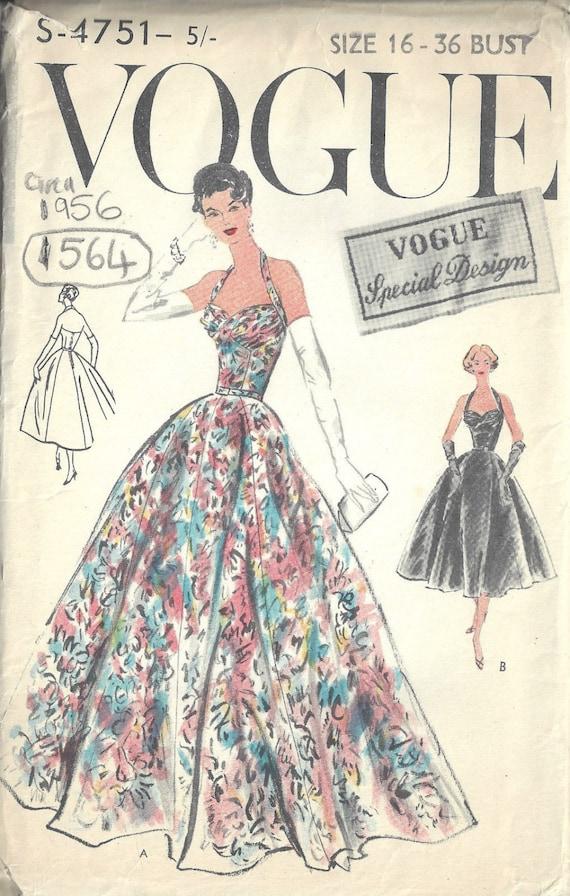 83cfbd12f5d7 1956 Vintage VOGUE Sewing Pattern B36 EVENING DRESS 1564 | Etsy