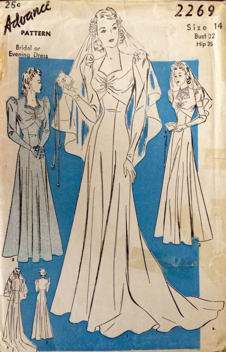 e29e35a4dc97 1940s WW2 Vintage Sewing Pattern B32 BRIDAL & Evening Dress | Etsy