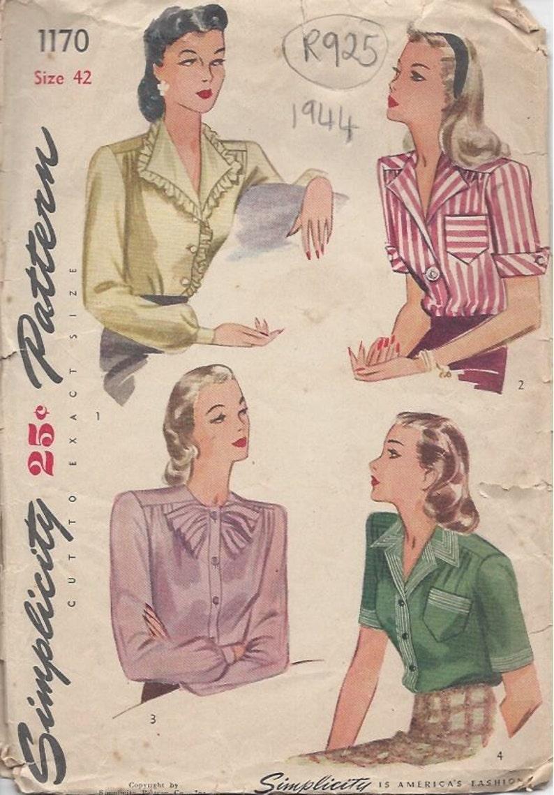1944 Vintage Sewing Pattern B42 BLOUSE R925 Simplicity 1170 image 0