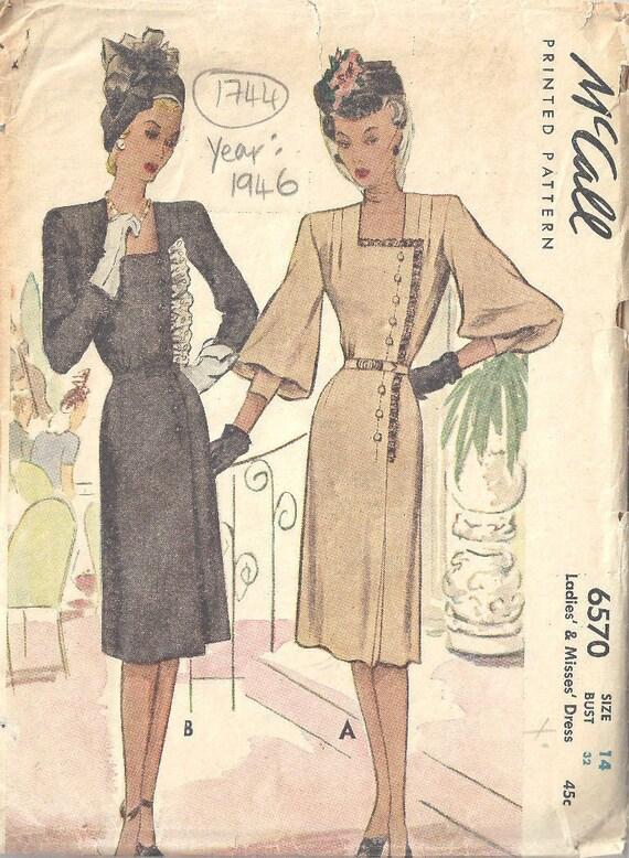 1946 Vintage Sewing Pattern B32 DRESS 1744 McCall | Etsy