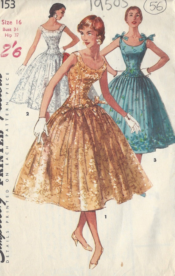 "1957 vintage sewing pattern dress B34/"" 212"