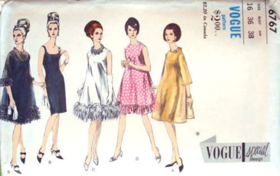d4061b5aec 1966 Vintage VOGUE Sewing Pattern B36 EVEBING DRESS