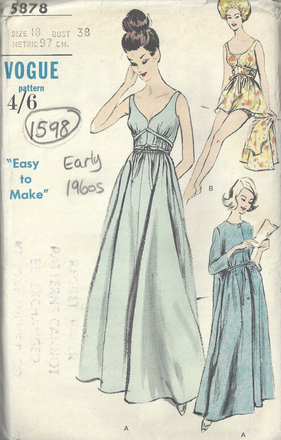 caa49f21ae 1960s Vintage VOGUE Sewing Pattern B38 Nightgown