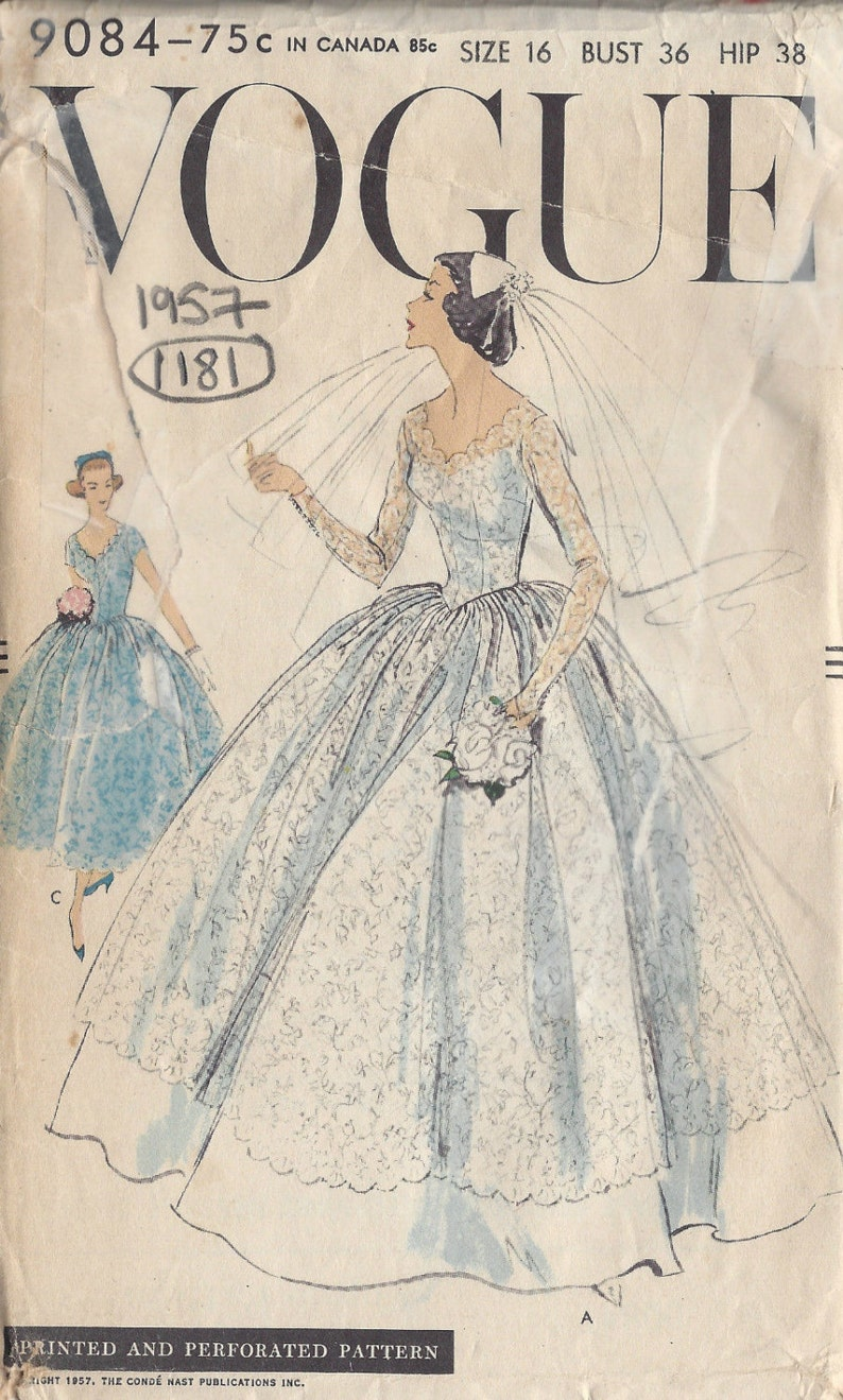 bac43895469a 1957 Vintage VOGUE Sewing Pattern B36 BRIDAL GOWN & Bridesmaid | Etsy