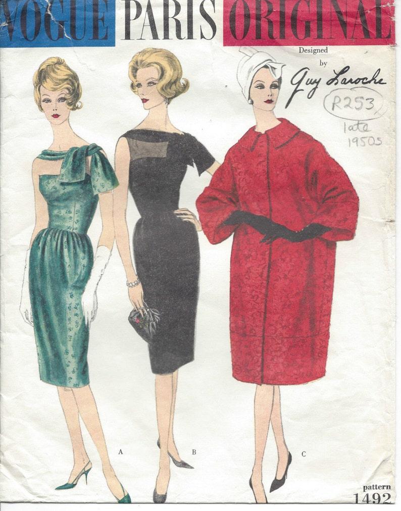 f286ea7c 1950s Vintage VOGUE Sewing Pattern COAT & DRESS B32