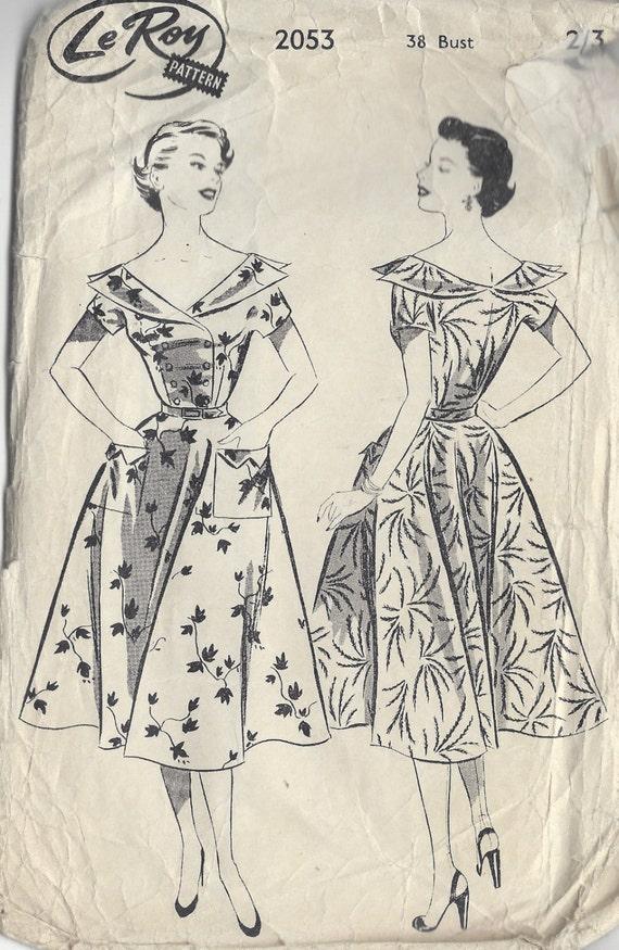 "R222 1950 S vintage sewing pattern dress B38/"""