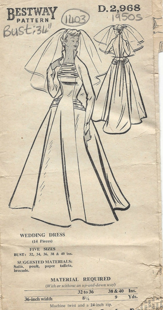 1950s Vintage Sewing Pattern B34 Wedding Dress Gown 1403