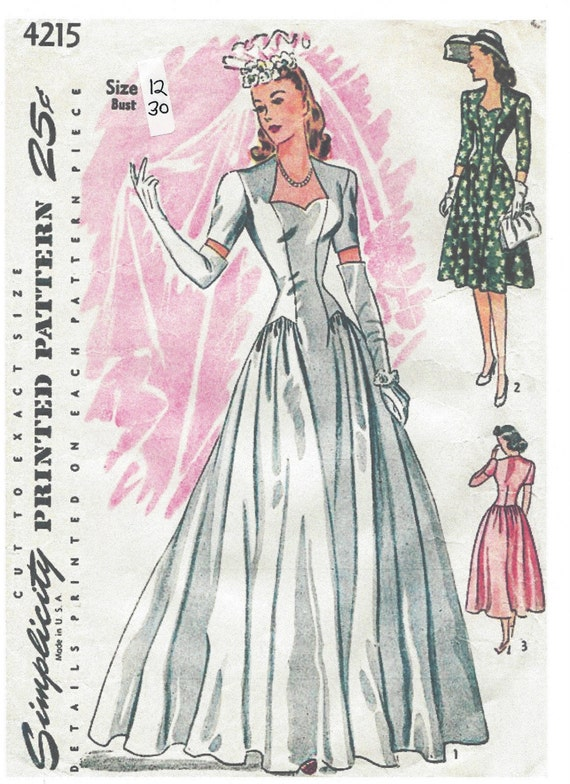 1940s Vintage Sewing Pattern B30 DRESS & WEDDING DRESS 103 | Etsy