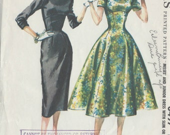 "1955 Vintage Sewing Pattern B30"" DRESS (R235)    McCall's 3497"