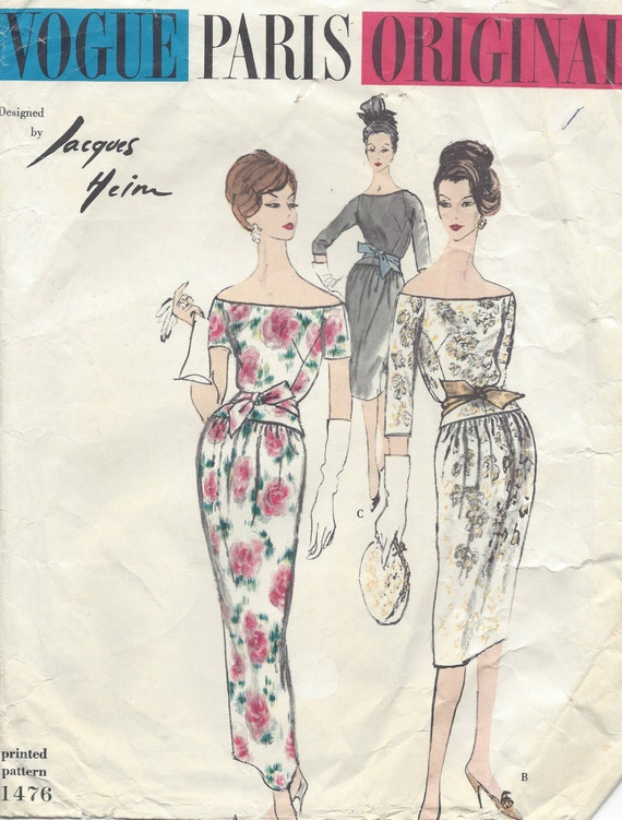 1524 1960s Vintage VOGUE Sewing Pattern B32 DRESS By JACQUES HEIM