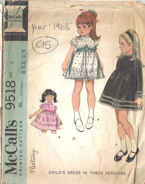1968 Childrens Vintage Sewing Pattern S2 B21 DRESS C15 | Etsy