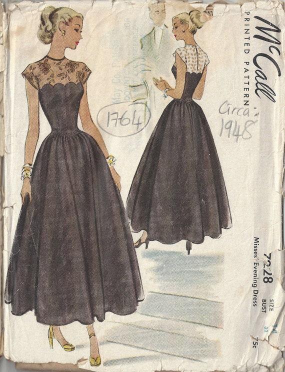 1948 Vintage Schnittmuster B32 Abendkleid 1764 | Etsy