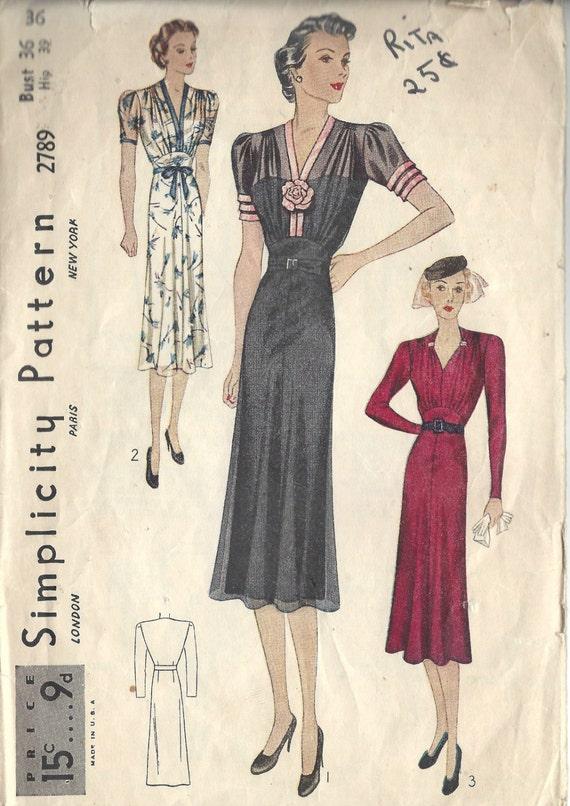 1939 Vintage Sewing Pattern B36 DRESS 1432 Simplicity 2789 | Etsy