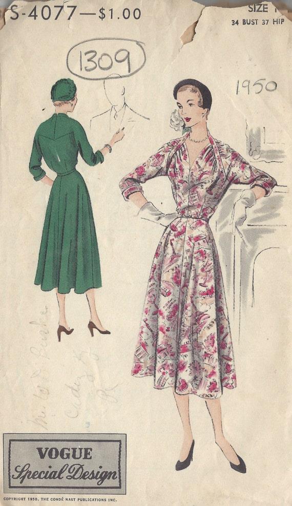 1950 VOGUE Vintage Sewing Pattern B34 DRESS 1309 Vogue | Etsy