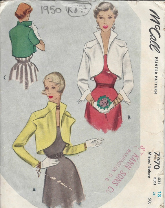 1950 Vintage Sewing Pattern B36 BOLERO JACKET R897 | Etsy