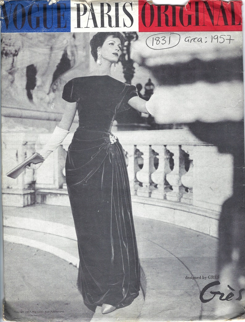 1957 Vintage VOGUE Sewing Pattern B38 ONE-PIECE Dress 1831 image 0