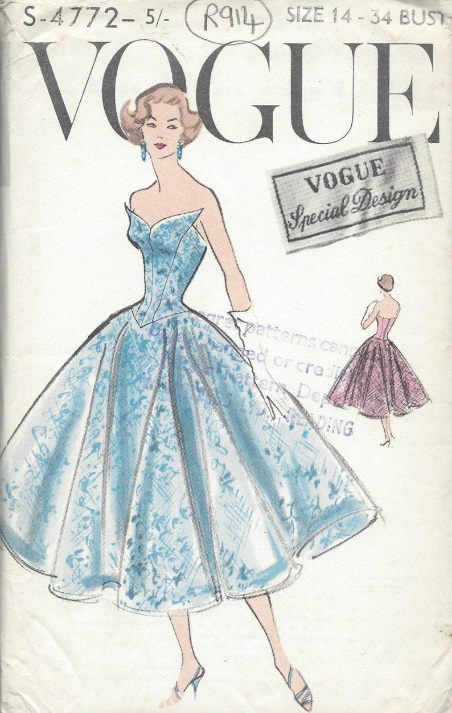 5c81552e8f87 1950s Vintage VOGUE Sewing Pattern B34 DRESS R914 Vogue | Etsy
