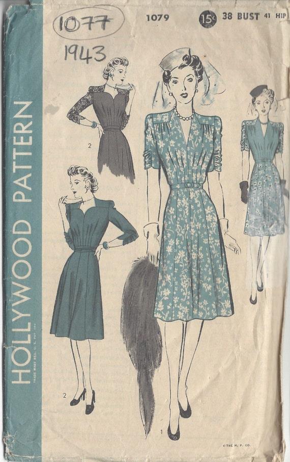 1943 Vintage Sewing Pattern B38 DRESS 1077 Hollywood | Etsy