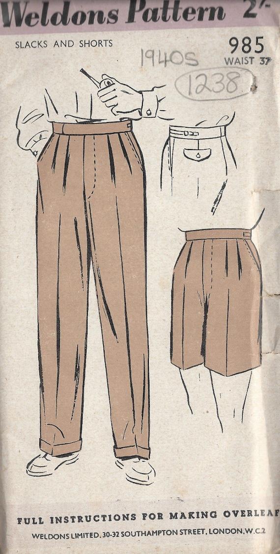 1940er Jahre Vintage Schnittmuster W37 Herren Hose Hosen   Etsy