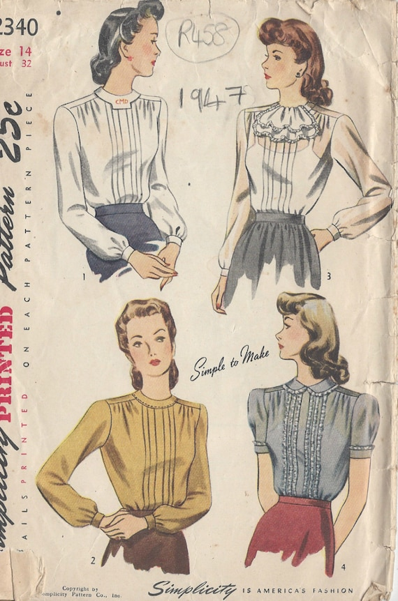 1947 Vintage Sewing Pattern BLOUSE B32 R458 Simplicity | Etsy