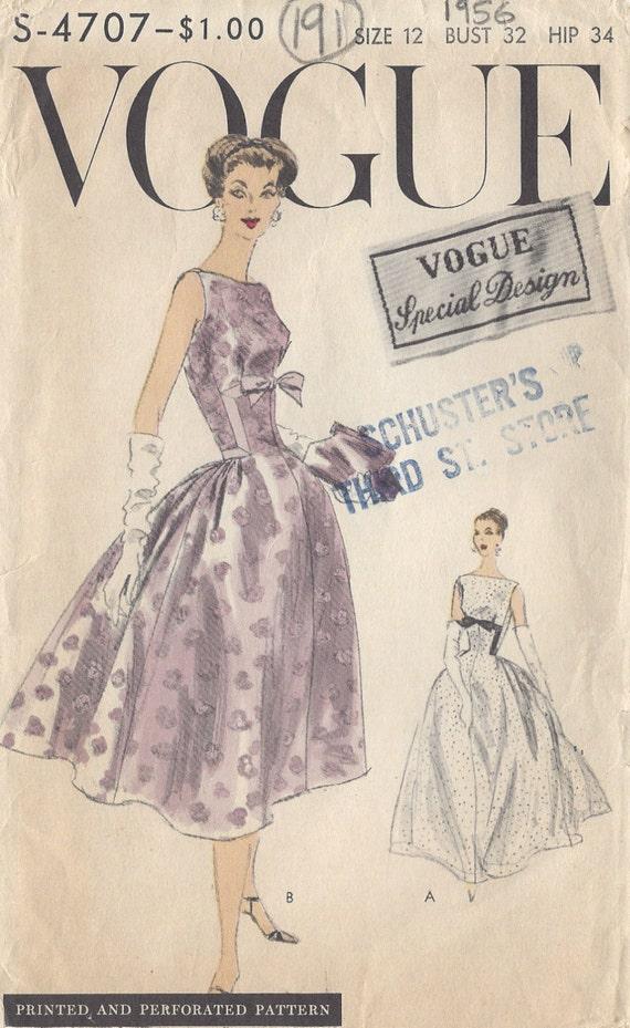 d6f48b69fb47 1956 Vintage VOGUE Sewing Pattern DRESS B32 191 Vogue | Etsy