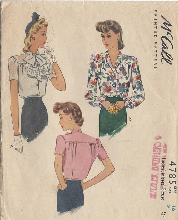 1942 Vintage Nähen Muster B34 Bluse R864 McCall 4785 | Etsy