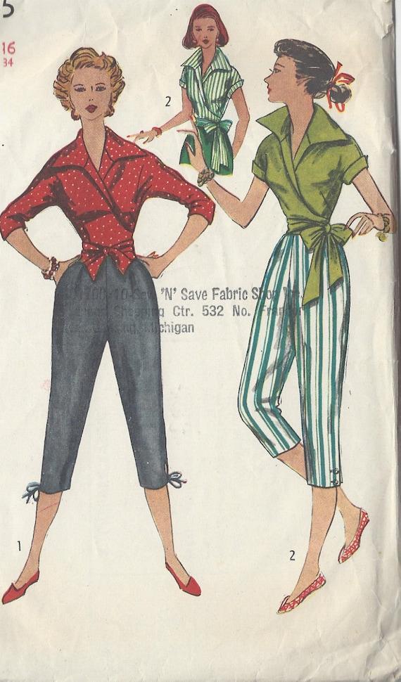 Patrón de costura vintage 1953 B34 blusa y pulsadores de   Etsy