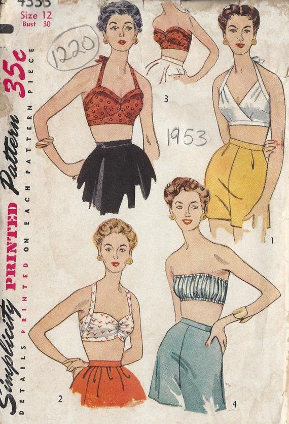 1953 Vintage Schnittmuster B30 BH TOPS 1220 Simplicity 4333 | Etsy