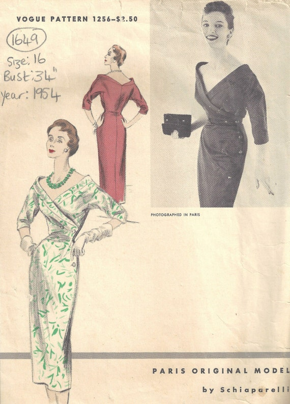00dc5ff30afc 1954 Vintage VOGUE Sewing Pattern DRESS B34 1649 By | Etsy