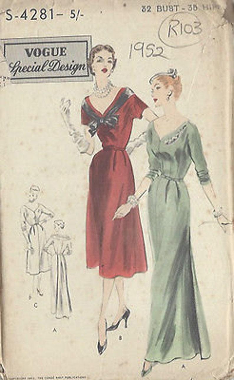323846808ee5 1952 Vintage VOGUE Sewing Pattern B32 DRESS R103 | Etsy