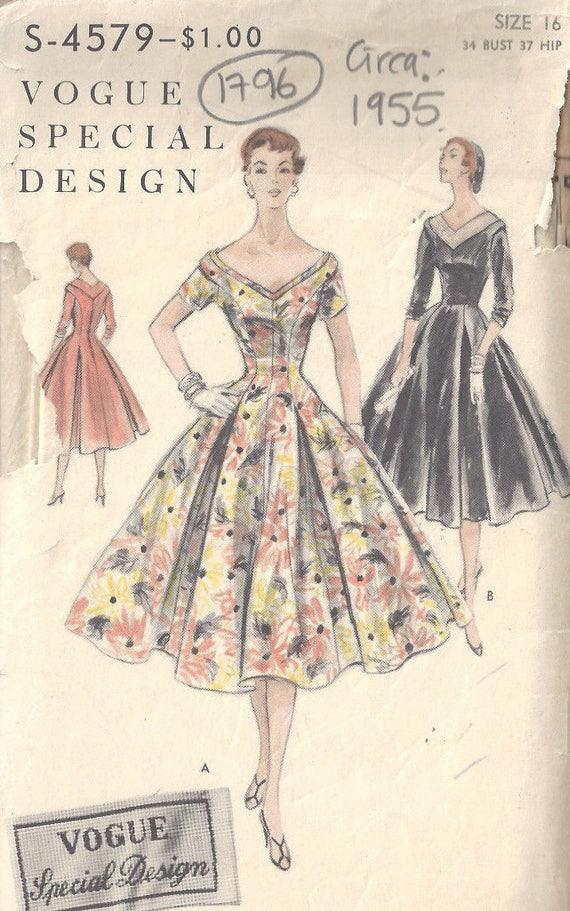 1955 Vintage Nähen Muster B34 Kleid 1796 Vogue S-4579 | Etsy