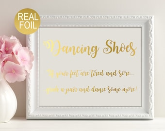 Wedding Dancing Shoes sign, wedding signs, gold foil print, wedding dancing feet sign, wedding decor, wedding signage,