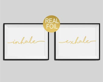 """Set of two real foil prints """"Inhale"""", """"Exhale"""" Bedroom Wall Art, Gold Home Decor, Gold Bedroom Decor, Typography, Housewarming Gift"""