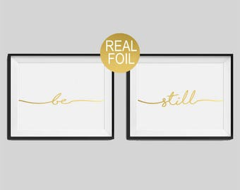 """Set of two real foil prints """"Be"""", """"Still"""" Bedroom Wall Art, Gold Home Decor, Gold Bedroom Decor, Typography, Housewarming Gift"""