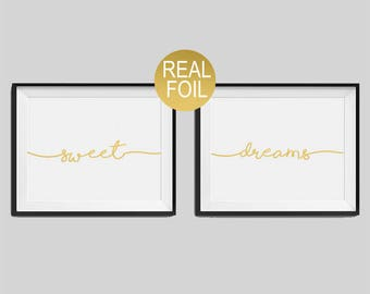 """Set of two real foil prints """"Sweet"""", """"Dreams"""" Bedroom Wall Art, Gold Home Decor, Gold Bedroom Decor, Typography, Housewarming Gift"""