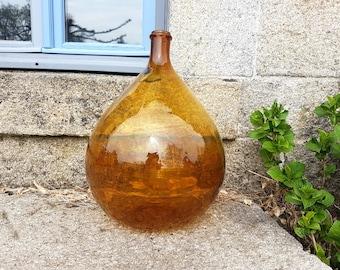 Amber Brown 15L grand Demi John brown ancienne bouteille en verre, Vintage Français, Dame Jeanne, vin, industrielle, contient 15 litres vase décor rare