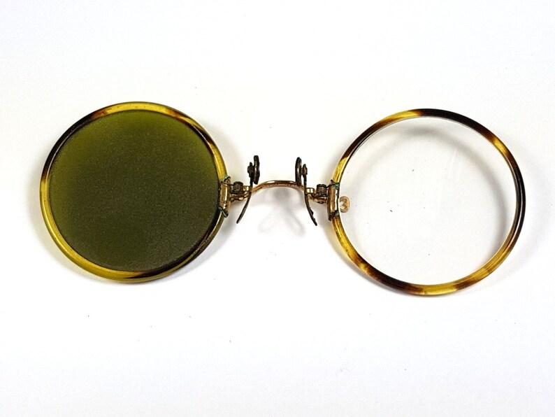 51bc125a8363 RARE Antique Round Gold Glasses dark lens pince nez pinch nose