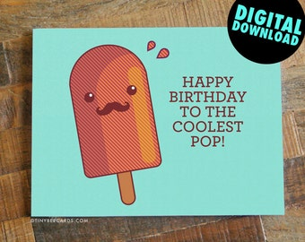 Printable Dad Birthday Card Coolest Pop