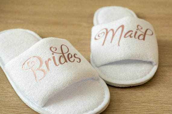 9f0bc682c3d Bridesmaid Slippers Personalised Wedding Slippers Bride, Bridesmaid Gift,  Bridal Party , Hen Weekend Open Toes Spa Slippers 28 colours