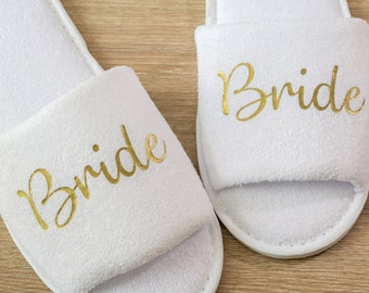 Bridesmaid Slippers Personalised  Wedding Slippers, Bridesmaid Gift, Bridal Party , Bride Slippers Hen Weekend  Open Toes Spa Slippers