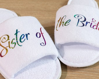 Bridesmaid Slippers Personalised Sister of the Bride Wedding Slippers , Bridesmaid Gift, Bridal Party , Hen Weekend  Open Toes Spa Slippers