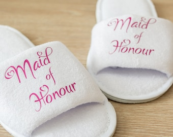 Personalised Maid of Honour Wedding Slippers Bride, Bridesmaid Gift, Bridal Party , Bridesmaid Slippers Hen Weekend  Open Toes Spa Slippers