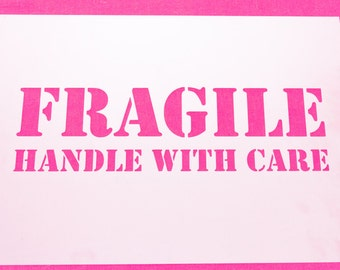 A4 Fragile Handle with Care Mylar Stencil Painting DIY Airbrush Sign FREE POSTAGE!