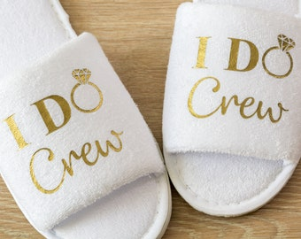 Bridesmaid Slippers Personalised I Do Crew Wedding Slippers Bride, Bridesmaid Gift, Bridal Party , Hen Weekend  Open Toes Spa Slippers