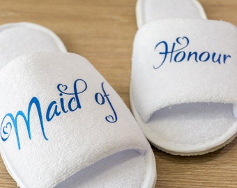 Maid of Honour Bridesmaid Slippers Personalised Wedding Slippers Bride, Bridesmaid Gift, Bridal Party , Hen Weekend  Open Toes Spa Slippers