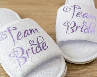 Team Bride Bridesmaid Slippers Personalised Wedding Slippers Bride, Bridesmaid  Gift, Bridal Party , Hen Weekend  Open Toes Spa Slippers