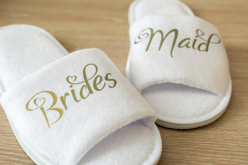 dfa296ea1ea Bridesmaid Slippers Personalised Wedding Slippers Bride slippers ,  Bridesmaid Gift, Bridal Party , Hen Weekend Open Toes Spa Slippers