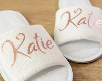 Bridesmaid slippers Personalised Wedding Day Slippers with name  Bride, Bridesmaid Gift, Bridal Party , Hen Weekend  Open Toes Spa Slippers