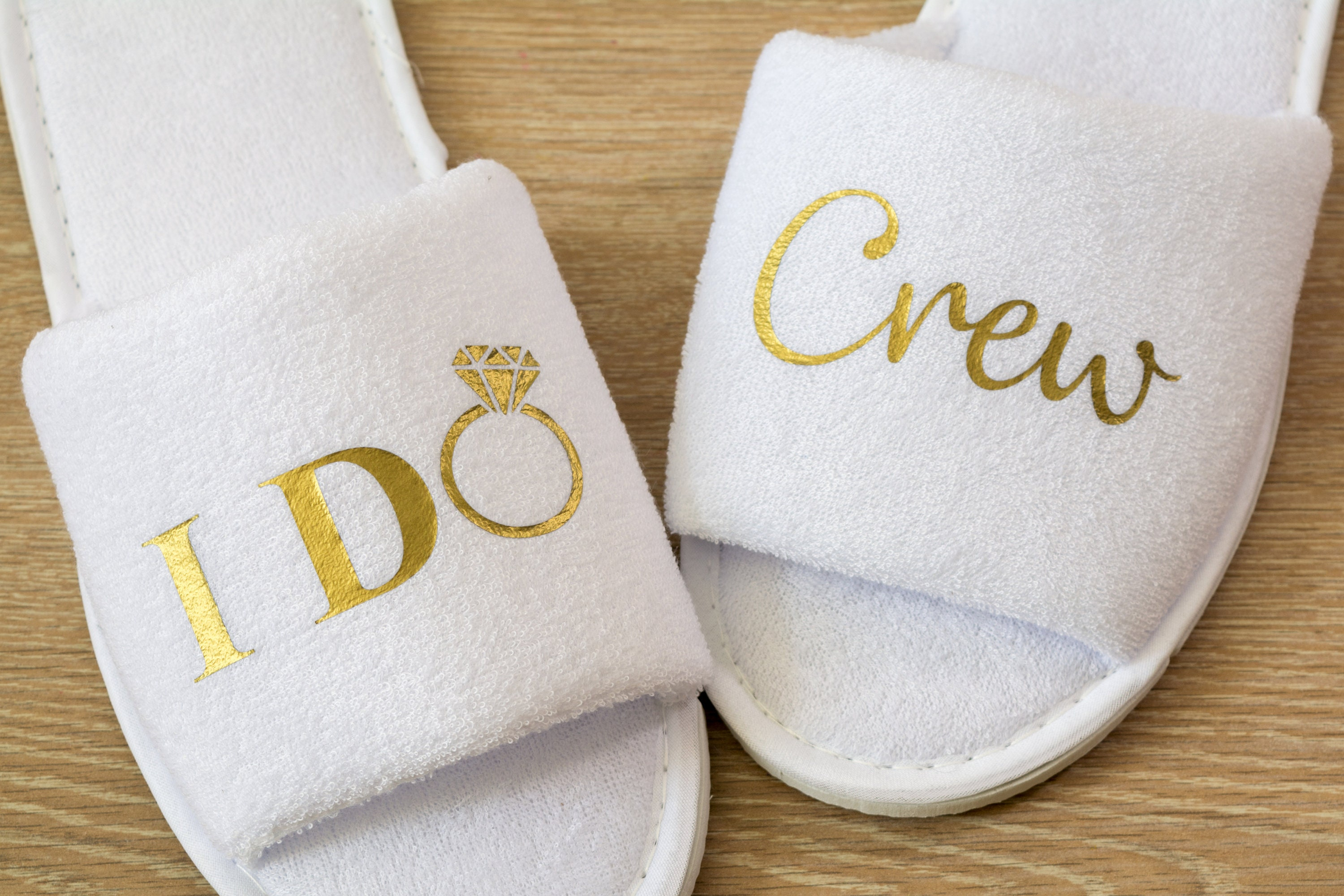 a7a0e4c4f3 Bridesmaid slippers Personalised I Do Crew Wedding Slippers Bride,  Bridesmaid Gift, Bridal Party , Hen Weekend Open Toes Spa Slippers