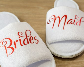 Bridesmaid Slippers  Personalised Wedding Slippers Bride, Bridesmaid Gift, Bridal Party , Hen Weekend  Open Toes Spa Slippers